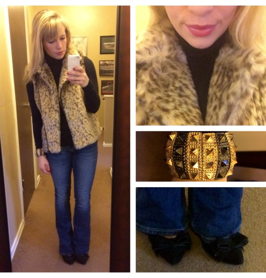 Vest: Catherine Malandrino via Marshall's, Turtleneck: Express found at Gabes, Jeans: American Eagle, Pumps: Betsy Johnson via Marshall's, Bracelet: gift