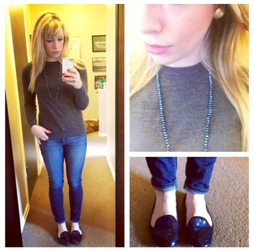 Sweater&Loafers: Gap, Necklace: F21, Jeans: American Eagle, Earrings: Target