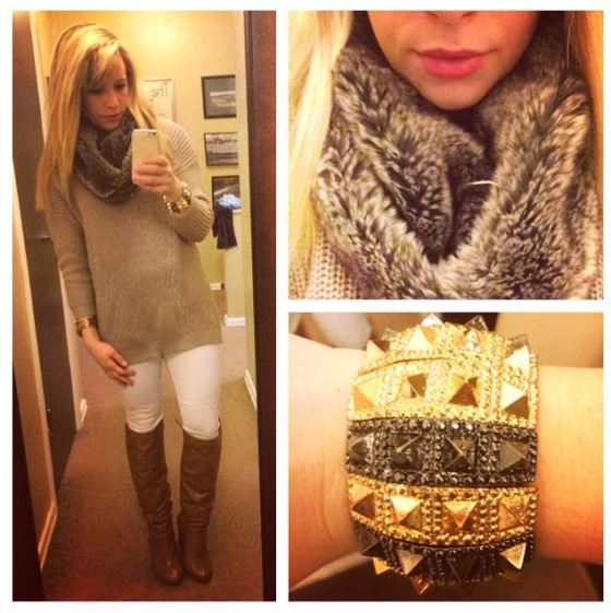 Sweater: F21, Snood: Gap Outlet, Jeans: Gap, Boots: DSW