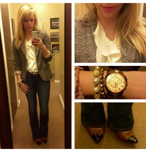 Blazer: Francesca's (last winter), Blouse: Express via Gabes, Jeans: American Eagle, Pumps: Burlington (only $7!)