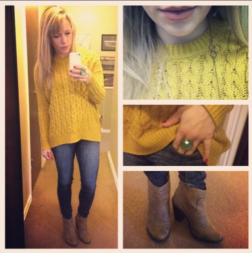 Sweater & Cocktail ring: H&M, Jeans: American Eagle, Booties: Target (last fall), Necklace: Forever21, Lips: MAC 'Velvet Teddy'