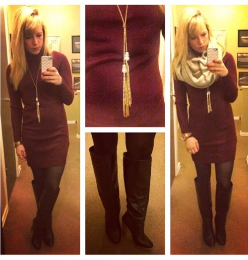 Sweater dress & scarf: Forever 21, Boots: Lulu's, Necklace: Target