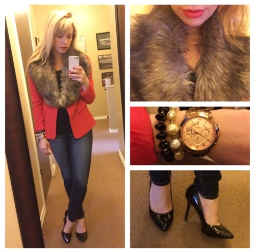 Tank: Gap Outlet, Blazer: F21, Faux Fur: Ebay, Jeans: American Eagle, Pumps: Jessica Simpson via 6pm.com