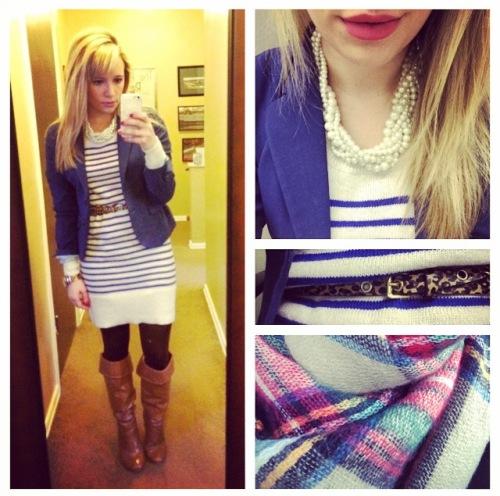 Dress: Old Navy, Blazer & Belt: H&M, Necklace: Francesca's, Boots: DSW (last year), Scarf: Zara