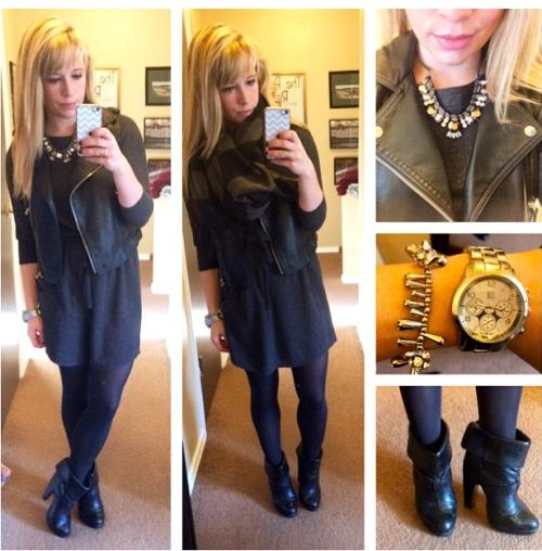 Vest: Sears: Dress: Old Navy (last winter), Booties: Charlotte Russe (also old), Necklace: Express, Bracelet: Francesca's, Lips: Bite 'Lychee'