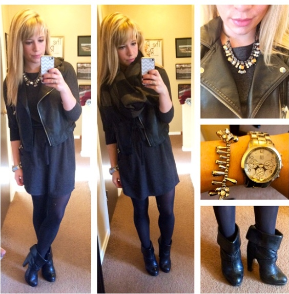 Vest: Sears: Dress: Old Navy (last winter), Booties: Charlotte Russe (also old), Necklace: Express, Bracelet: Francesca's, Lips: Bite 'Lychee'