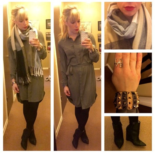 Dress: H&M, Scarf: Marshall's, Booties: Gwen Stefani for Shoedazzle, Bracelet: Gift, Ring: Charming Charlie, Lipstick: MAC 'Ruby Woo'