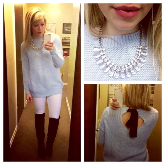Sweater & Boots: F21, Necklace: Target, Jeans: Gap, Lips Jordana Moisturizing Balm in 'Candied Coral'