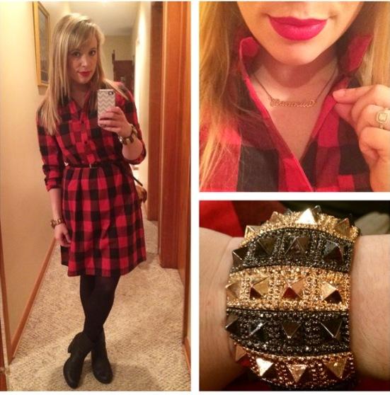 Dress: Go Jane, Booties: DSW, Bracelet: Gifted, Lips: Urban Decay