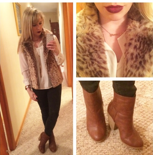 Vest: Catherine Malandrino via Marshall's, Top: forever 21, Jeans: Target, Booties: Burlington, Lips: MAC 'Rebel'