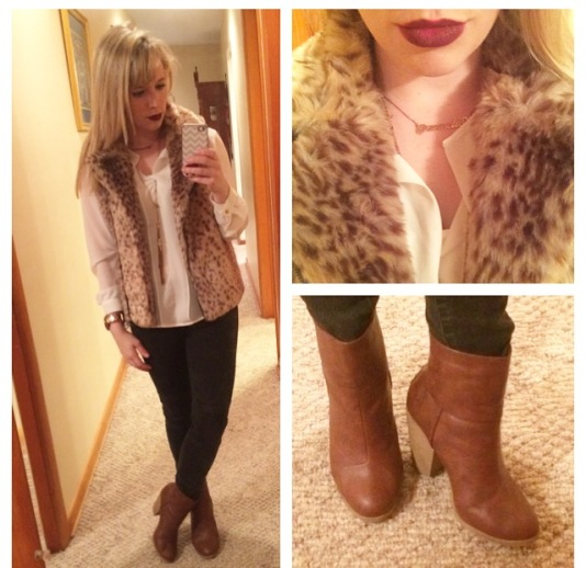Vest: Catherine Malandrino via Marshall's, Top: forever 21, Jeans: Target, Booties: Burlington, Lips: MAC 'Rebel'