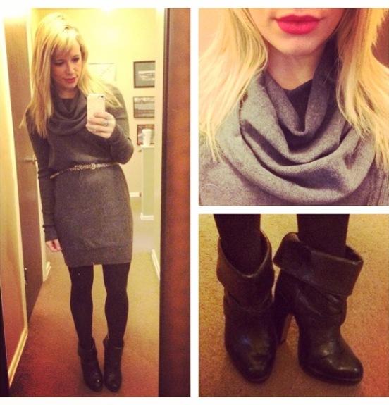 Dress: Marshall's, Belt: H&M, Booties: Charlotte Russe (old), Lip: NYX Matte Lip Cream in 'Amsterdam'