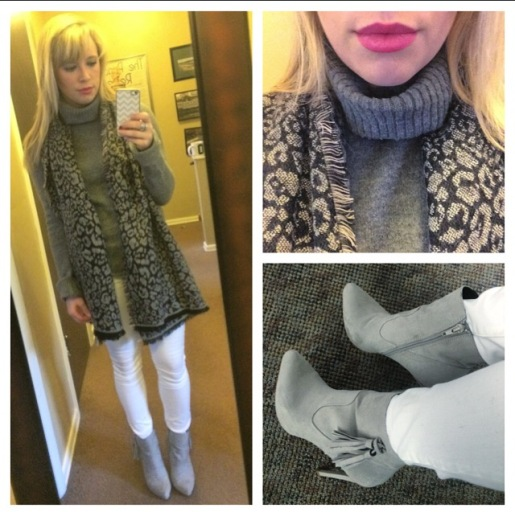 Scarf: Target, Turtleneck: Old (like, high school old), Jeans: Gap, Booties: ShoeDazzle (on sale!), Lip: NYX Lip Cream in 'Louisiana'