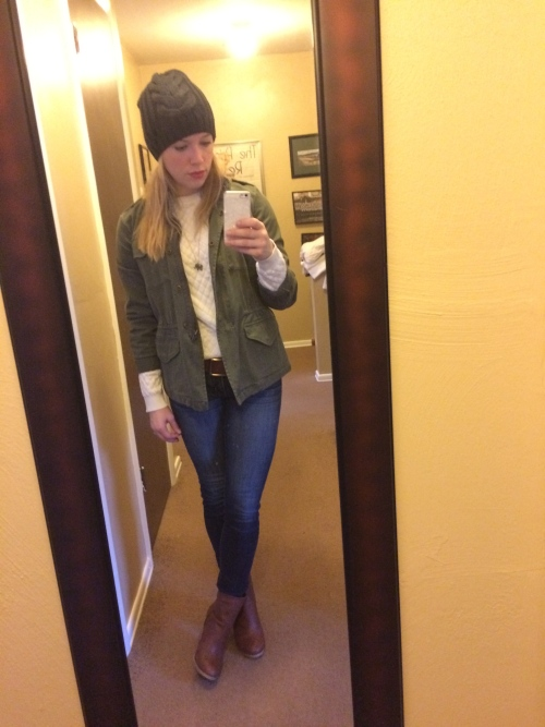 Jacket: JCP (last year), Quilted Sweatshirt & Beanie: Target, Necklace: J.Crew Factory, Jeans: American Eagle, Booties: Burlington