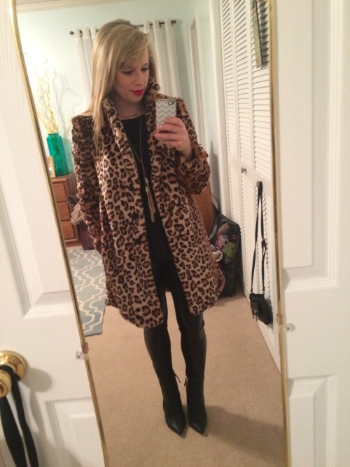 Coat: Forever 21, Tee: Cynthia Rowley via Marshall's, Faux Leather Leggings: Marshall's, Booties: ShoeDazzle, Necklace: Target, Lips: Urban Decay 'F-Bomb'