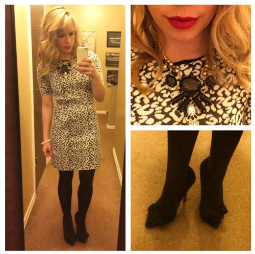 Dress: H&M, Pumps: Betsey Johnson via Marshall's, NYX Matte Lip