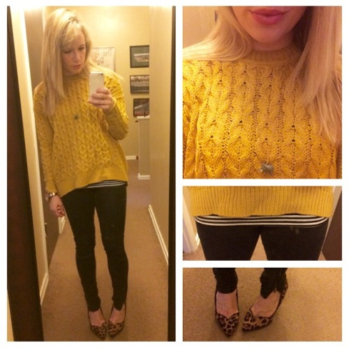 Sweater: H&M, Striped Tee: Target, Necklace: J.Crew Factory, Jeans: Target, Pumps: GoJane, Lips: Lancome 'Chateau Peony'