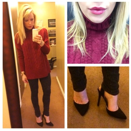 Sweater: Old Navy, Skinnies: Target, Pumps: Qupid via UrbanOG (old), Lips: Jose Maran Lip and Cheek Stain in Boundless Berry