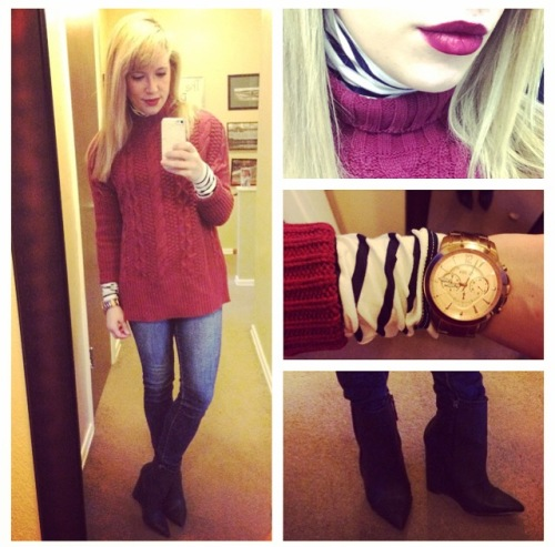 Sweater & Turtleneck: Old Navy, Jeans: American Eagle, Wedge Booties: Shoedazzle, Lip: NYX Matte Lip Cream in 'Copenhagen'