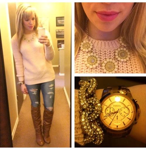 Sweater: F21, Necklace: Gabes, Jeans: American Eagle via Gabes, Boots: DSW, Pave Bracelet: Target