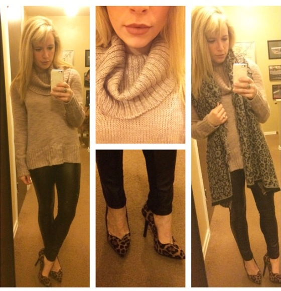 Sweater: H&M, Scarf: Target, Leggings: I think Marshall's (?), Pumps: GoJane, Lip: MAC 'Velvet Teddy'