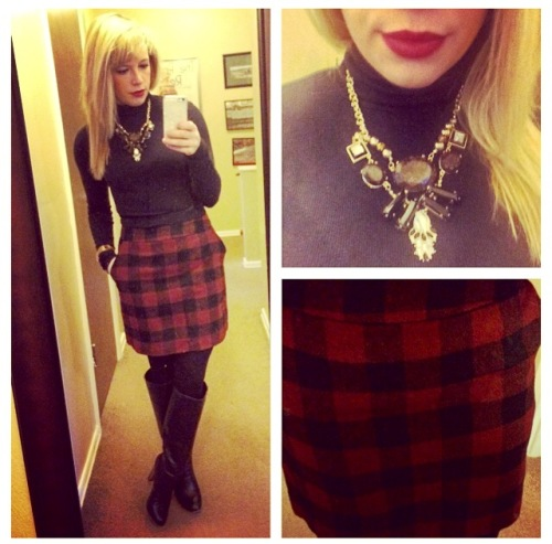 Turtleneck: Express, Skirt: F21, Boots: Lulu's, Necklace: Target, Lips: MAC 'Diva'