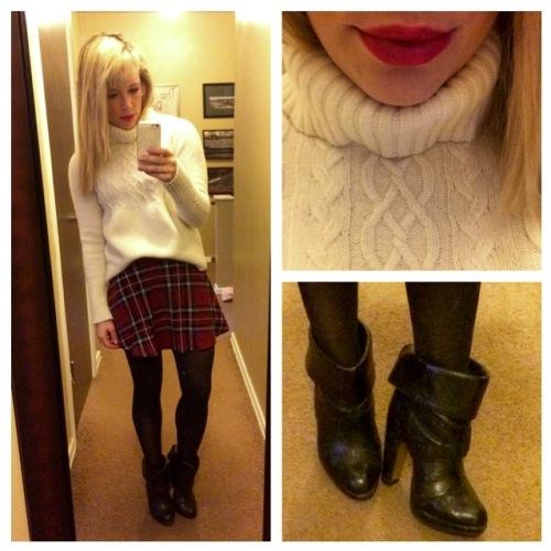 Sweater: Gap, Skirt: Windsor, Booties: Charlotte Russe, Lip: NYX Matte Lip Cream in 'Amsterdam'