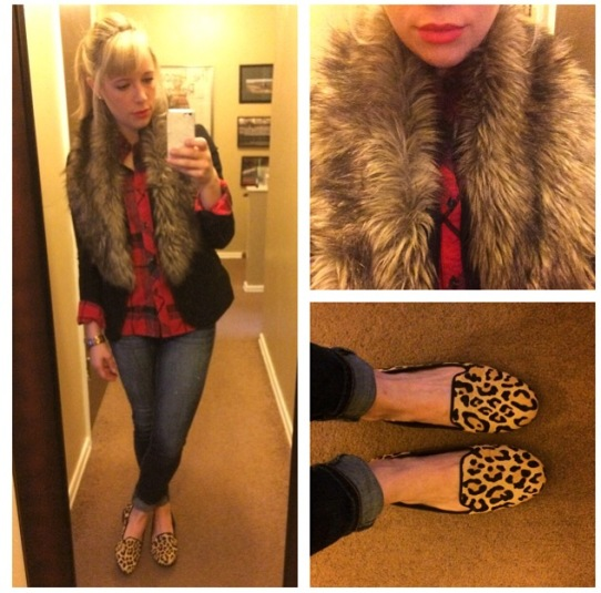 Faux Fur: Ebay, Blazer: Gabes, Flannel: Urban Outfitters via Gabes, Jeans: American Eagle, Loafers: DSW