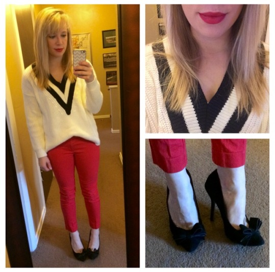 Sweater: H&M, Pants: Gap, Pumps: Betsey Johnson via Marshall's, Lips: Urband Decay 'F-Bomb'