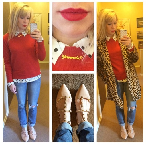 Sweater: Gap, Polka-Dot Button-Up: Forever 21, Jeans: American Eagle, Rockstud Flats: Go Jane, Leopard Coat: F21, Lips: MAC 'Ruby Woo'