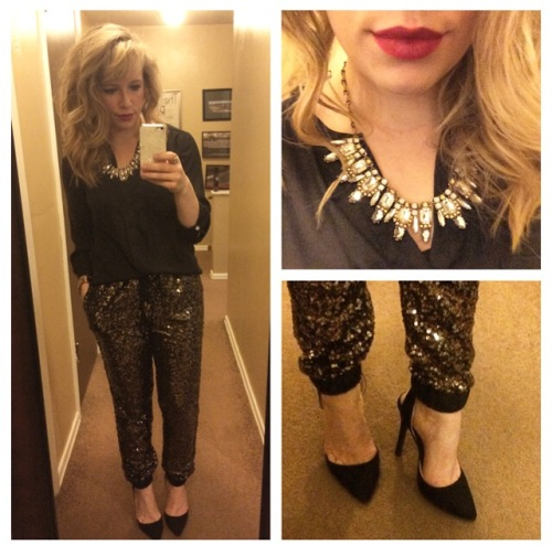 Top: H&M, Pants: Forever21, Necklace: Target, Pumps: Qupid via UrbanOG, Lips: Urban Decay