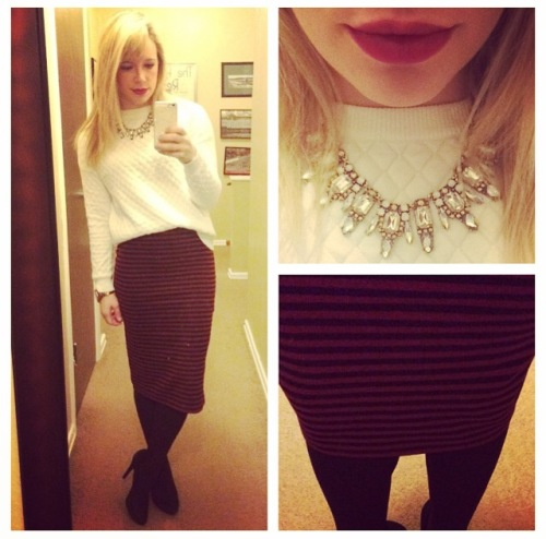 Quilted Sweater & Necklace: Target, Skirt: F21,  Pumps: Jessica Simpson via DSW, Lips: MAC 'Rebel'