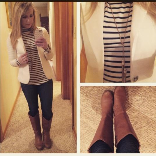Blazer: Gabes, Turtleneck: Old Navy, Jeans: American Eagle, Boots & Tassle Necklace: Target