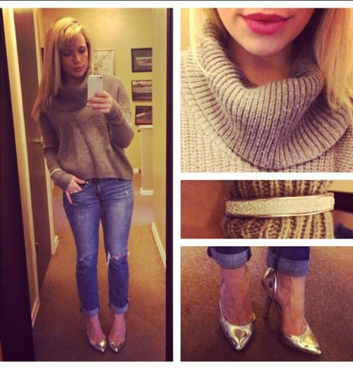 Sweater: Gabes, Jeans: American Eagle, Pumps: BCBG via DSW, Lips: Lancome 'Chateau Peony'