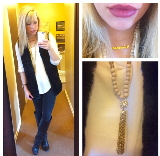 Faux fur vest: Marshall's, Top: Charlotte Russe, Necklace: Charlie Boutique, Pants: Kohl's, Boots: Lulu's, Necklace: Charlie Boutique, Lips: NYX liner in 'Ever', NYX lipstick in 'Whipped Caviar'