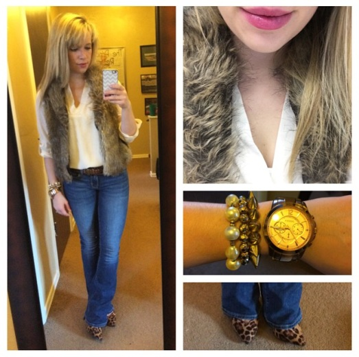 Vest: Express found at Gabes, Top: Charlotte Russe, Jeans: American Eagle, Pumps: GoJane, Lips: Tarte Energy Lipsurgence Skintuitive Lip Tint