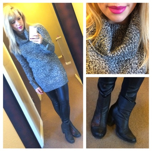 Tunic Sweater: Forever21, Faux Leather Leggings: Marshall's (?), Booties: Dibya via DSW, Lips: Sephora Pantone Universe in 'Radiant Orchid'