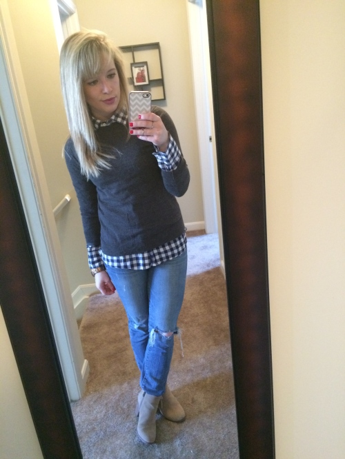Button-up: J.Crew Factory, Sweater: Gap, Jeans: American Eagle, Booties: Guess via DSW