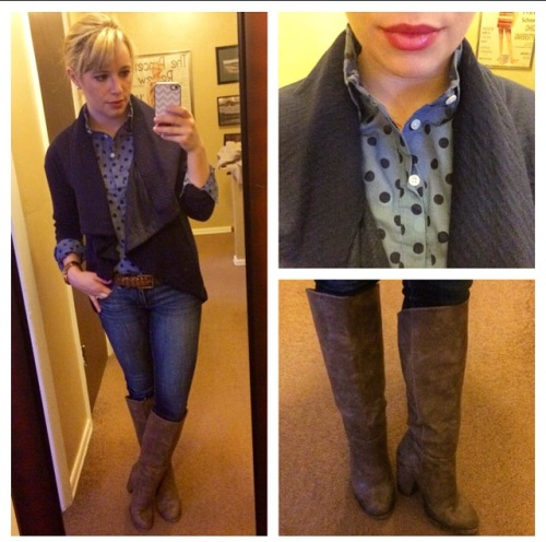 Button-up: J.Crew Factory, Cardigan: Target, Jeans: American Eagle, Boots: Forever 21, Lip: Lancome 'Chateau Peony'