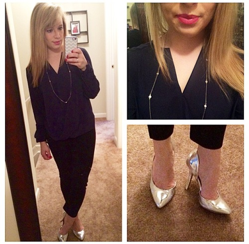 Top: Target, Pants: Gap, Pumps: BCBG via DSW, Necklace: NY&Co, Lips: NYX matte lip cream in 'Milan'