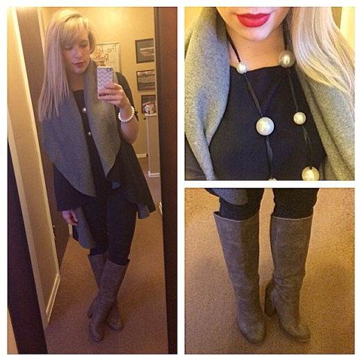 Oversized vest: Steve Madden via Marshall's, Top: Old Navy, Jeans: Target, Boots: Forever 21, Necklace: Gabes, Lips: Urban Decay 'F-bomb'
