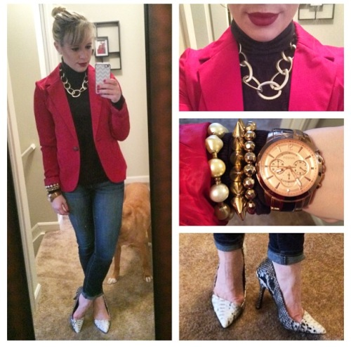 Blazer: Gabes, Turtleneck: Express via Gabes, Jeans: American Eagle, Pumps: Shoe Dazzle, Necklace: Charlotte Russe, Bracelets: Charlotte Russe & Francesca's, Lips: MAC 'Rebel'