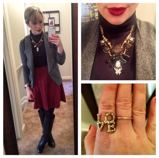 Jacket: H&M, Turtleneck: Express via Gabes, Skirt: Old Navy, Boots: Lulu's, Necklace: Target, Lips: MAC 'Diva'