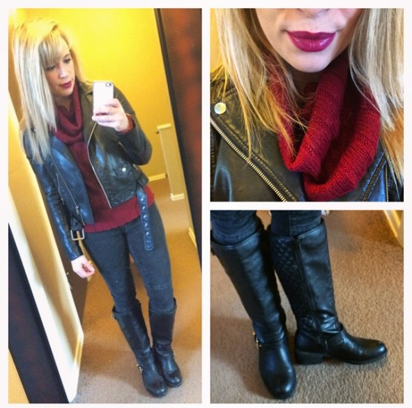 Jacket: H&M, Sweater: Gabes, Jeans: Target, Boots: Chinese Laundry via Marshall's