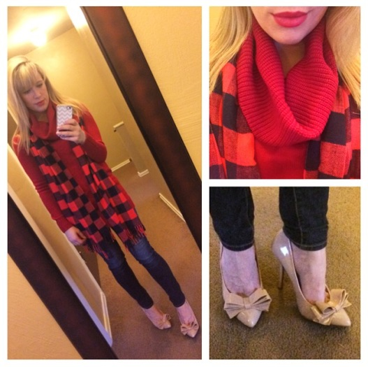 Sweater: F21, Scarf: Gap, Jeans: American Eagle, Pumps: Betsey Johnson via Marshall's, Lip: NYX Matte Lip Cream in 'Amsterdam'