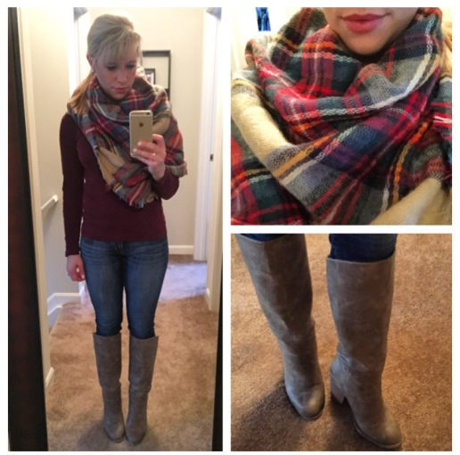 Scarf: Zara, Tee: J.Crew Factory, Jeans: American Eagle, Boots: F21, Lip: Covergirl Lipperfection Jumbo Gloss Balm in 240