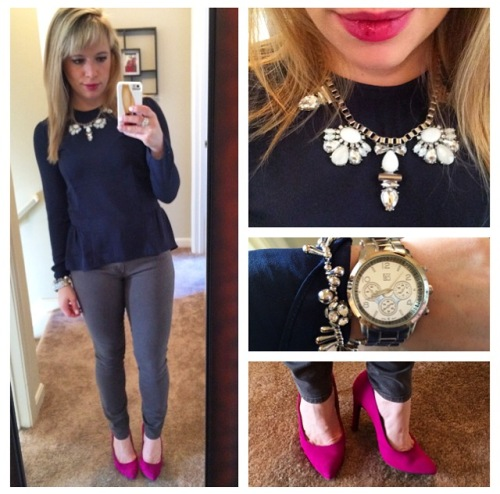 Top: H&M, Jeans: Gap, Pumps: JustFab, Necklace: Express