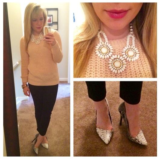 Sweater: Forever 21, Necklace: Gabes, Pants: Gap, Pumps: Shoedazzle, Lips: Tarte Lipsurgence Energy