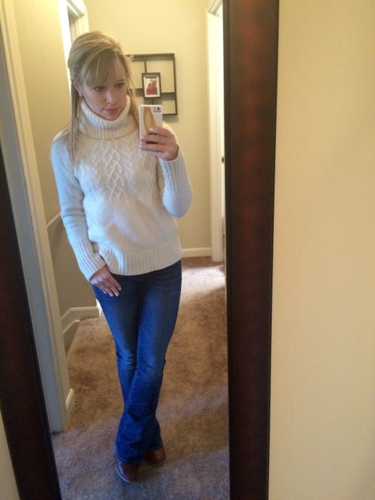 Sweater & Jeans: Gap, Booties (not really pictures): Burlington