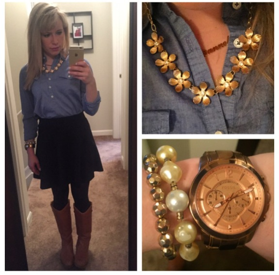 Top: Forever 21, Skirt: Maybe JCPenny (?), BootsL Target, Necklace: F21
